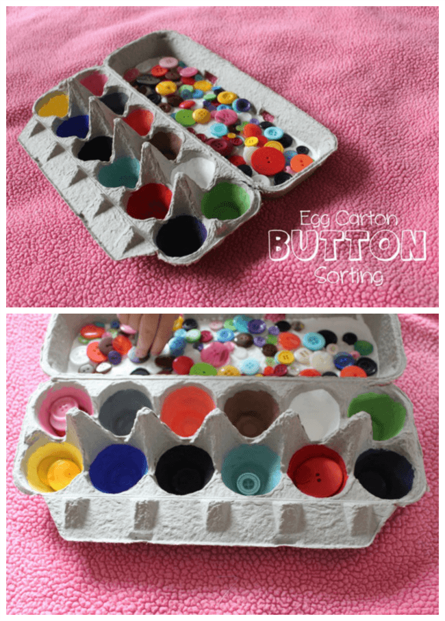 Egg carton button sorting