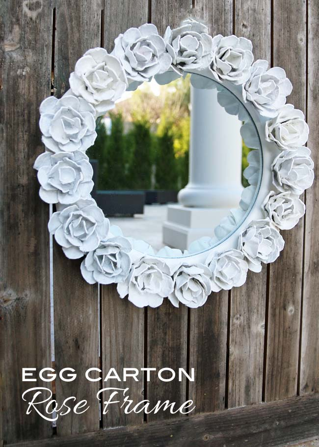 Egg carton rose mirror (wreath)