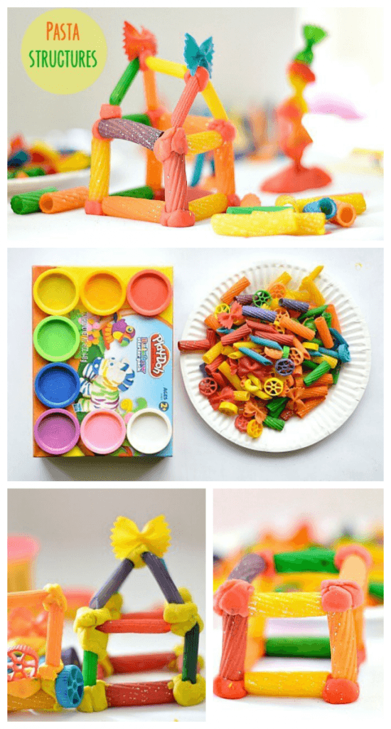 Engineering with kids using pasta and playdoh