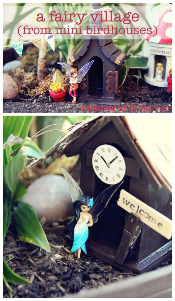 Fairy garden from birdhouses