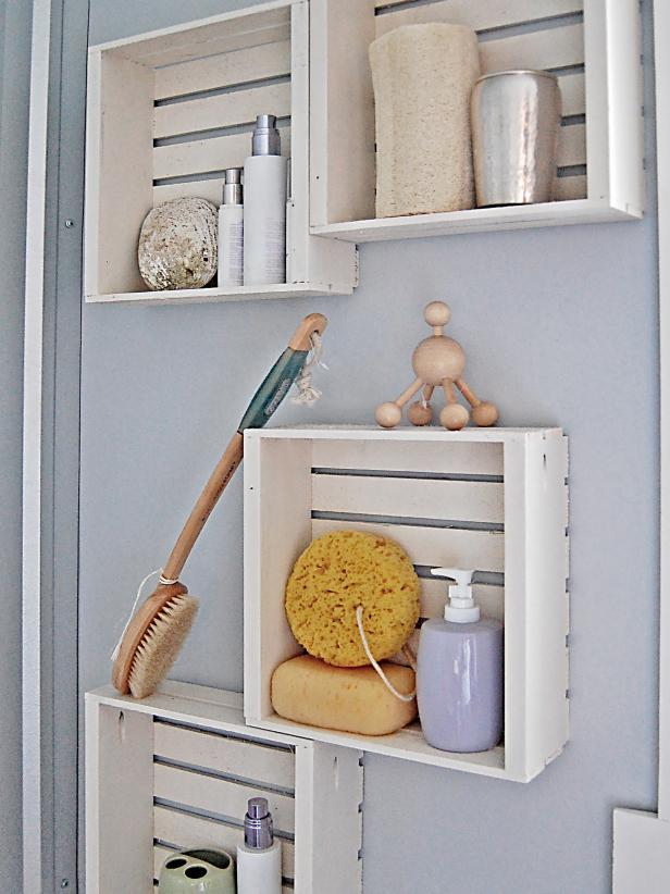 fast and easy bathroom shelves