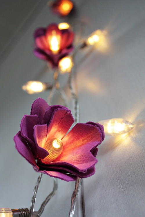 Flower fairy lights made with egg carton