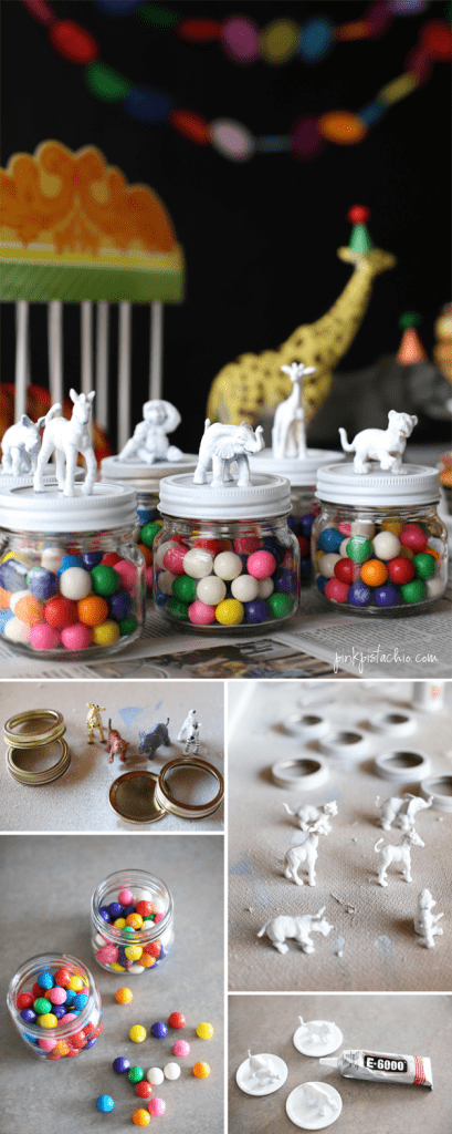 jar decorated with animal toys