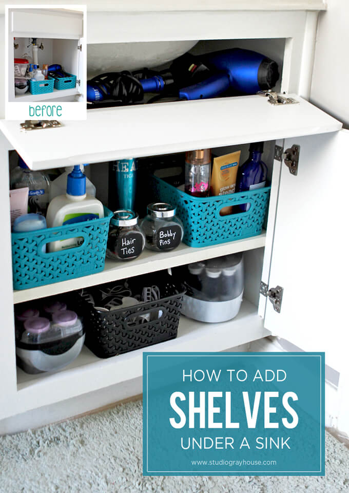 how to add shelves under a sink