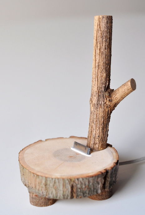 how to make a tree branch ipod dock