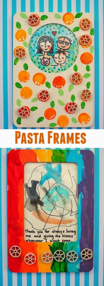 Kid made pasta frame