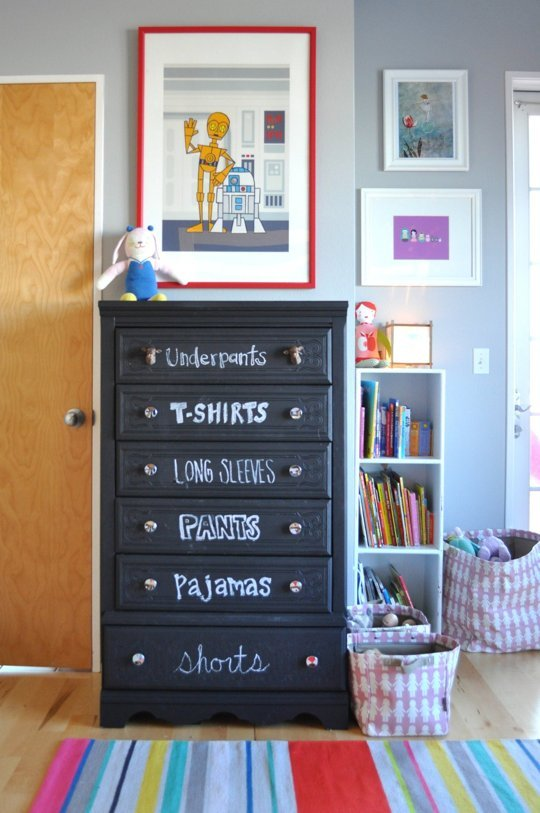 Labelled kids drawers