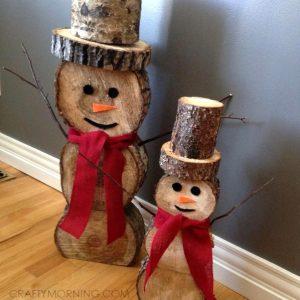 log snowman christmas craft