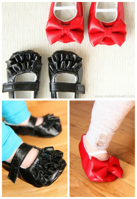 Making baby shoes with bows and ruffles