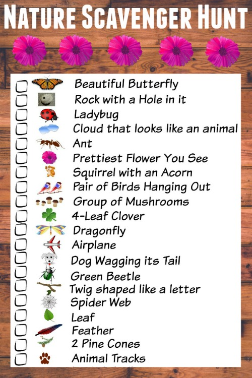 It is a photo of Refreshing Nature Scavenger Hunt Printable