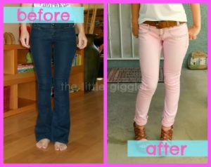 pink skinny jeans refashion
