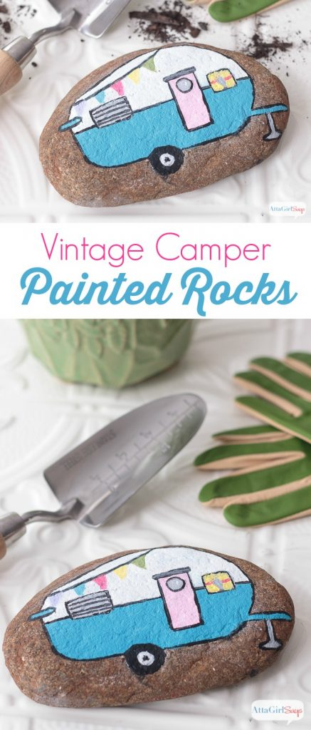 pinnable vintage campter painted rocks