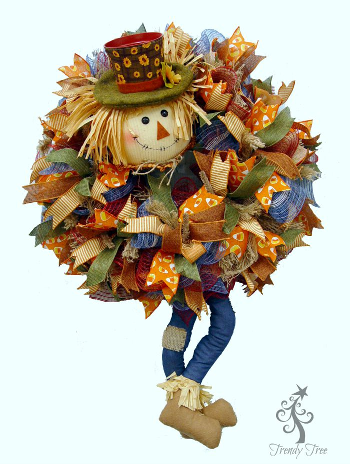 pot head scare crow fall wreath