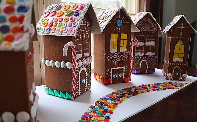 Elegant recycled village of ginger bread house