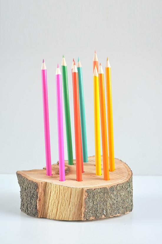 rustic wooden coloured pencil holder