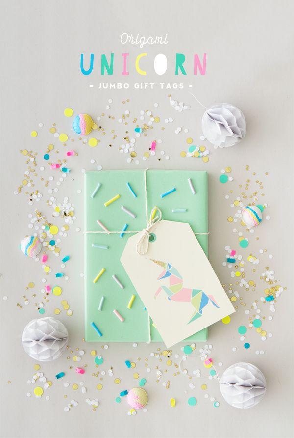 unicorn jumbo gift tags