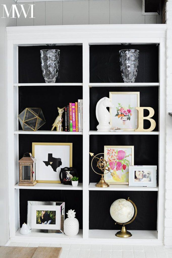 Black baked bookcase DIY decor