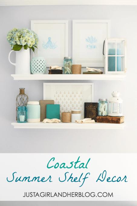 Coastal Summer Shelf Decor