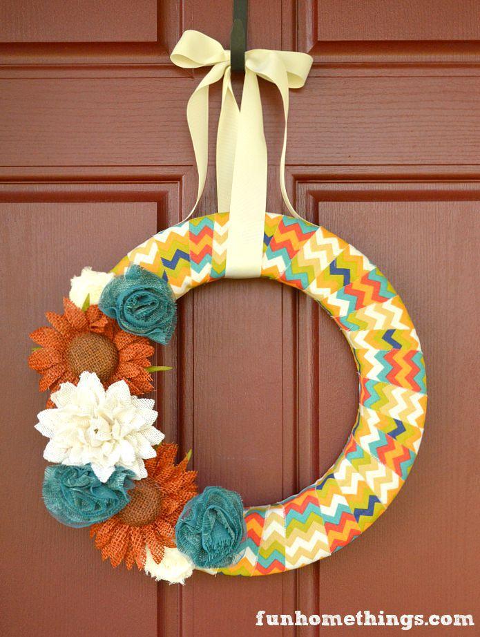 DIY fabric wrapped fall wreath