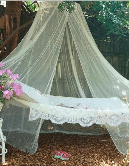 DIY tulle hammock outdoor serenity space