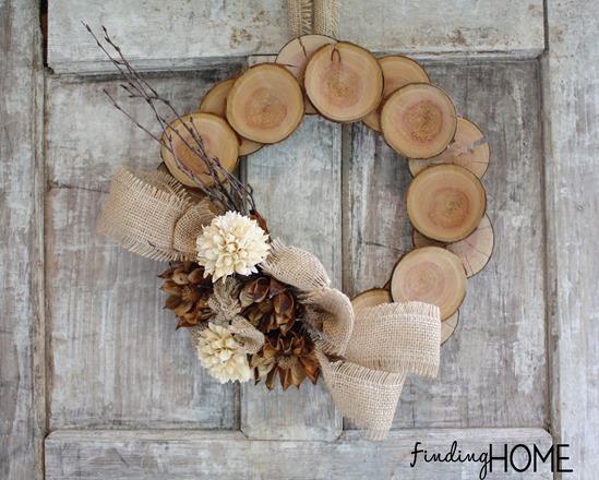 DIY wood log wreath