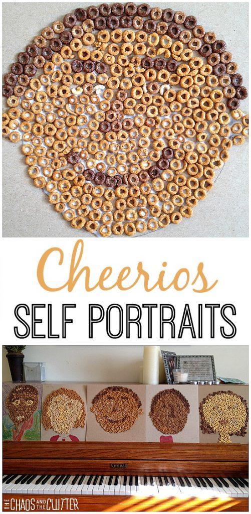 Cheerios kids crafting - making self portraits