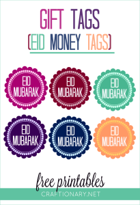 Eid money printable tags