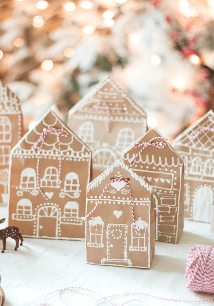 Gingerbread house paper bag gift wrap
