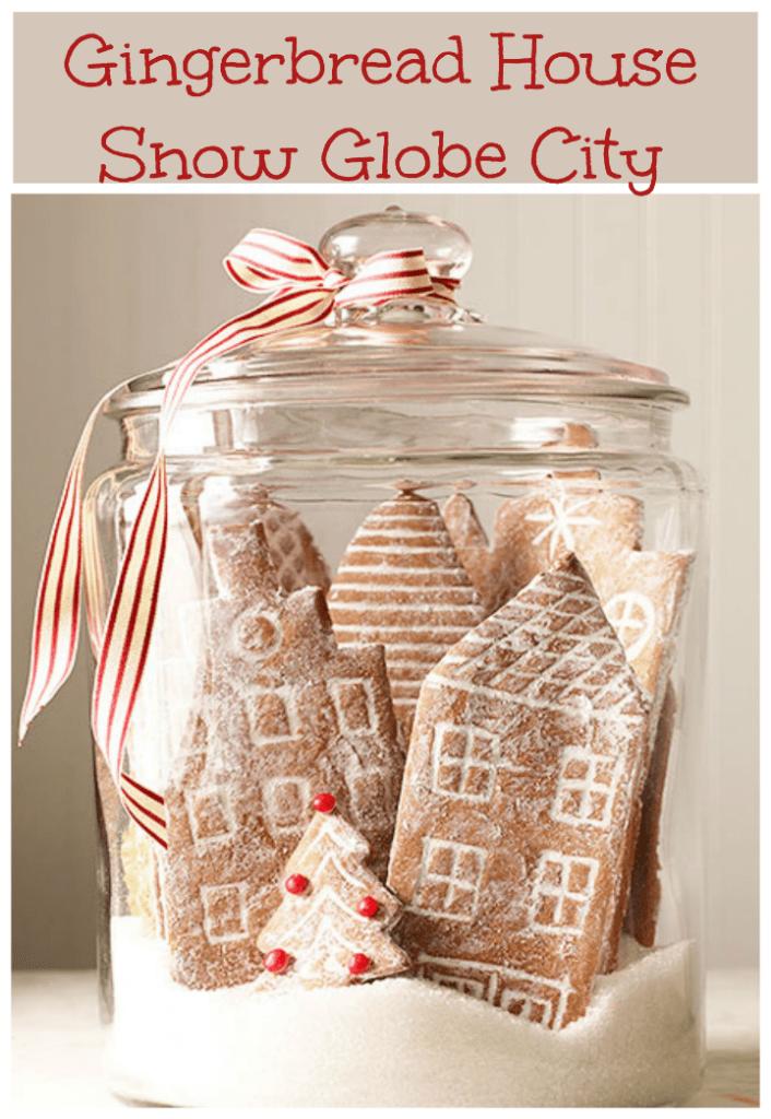 Gingerbread house snow globe city