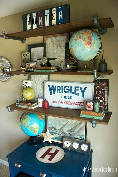 how to decorate boys bedroom shelf