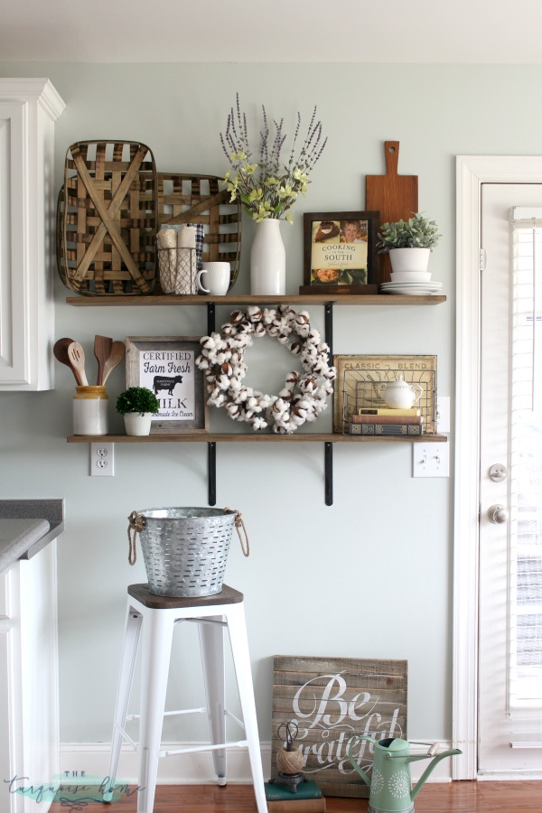 how to decorate shelves farmhouse kitchen - How To Decorate Bookshelves