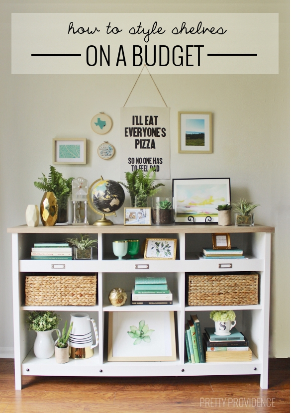 how to style shelves on a budget?