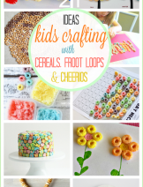 Crafts and activities for kids with cereal, froot loops and cheerios to develop early learning and fine motor skills