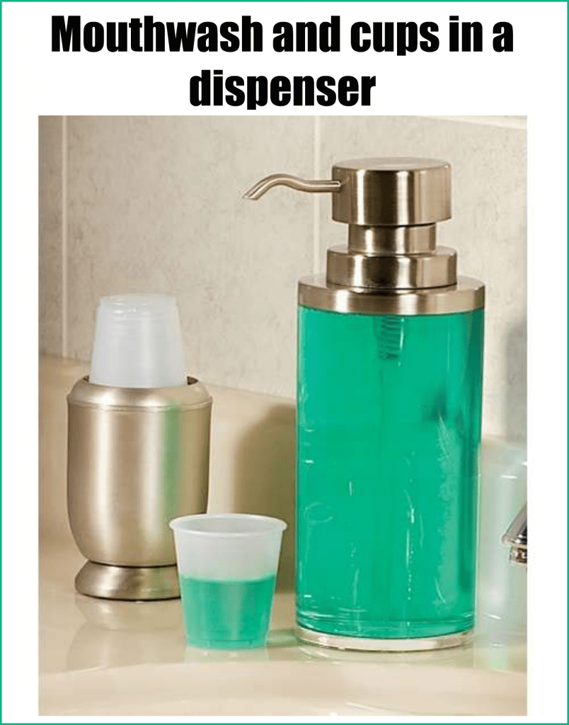 Mouthwash container for bathroom