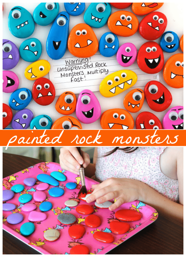 Painted rock monsters for kids