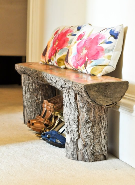 Salvaged tree branch bench
