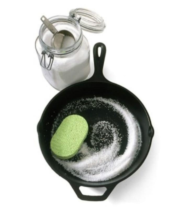 clean with sea salt and sponge