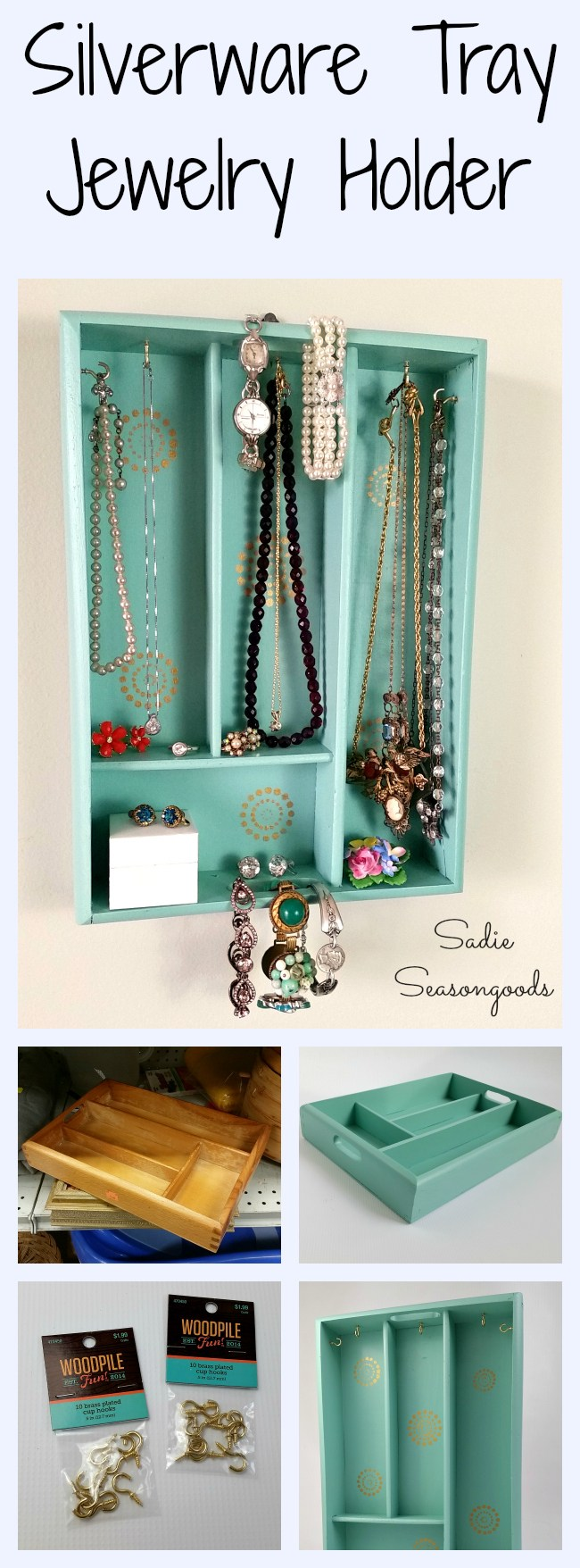 silverware tray upcycled into jewelry organizer