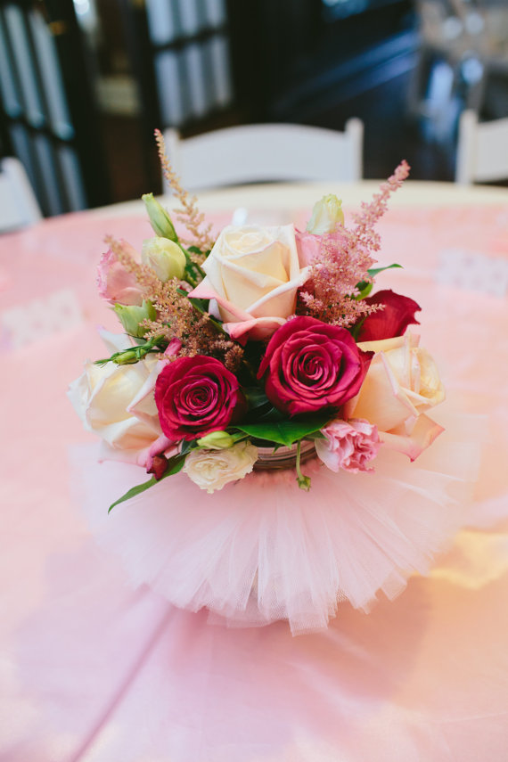 Tulle tutu vase centerpiece idea
