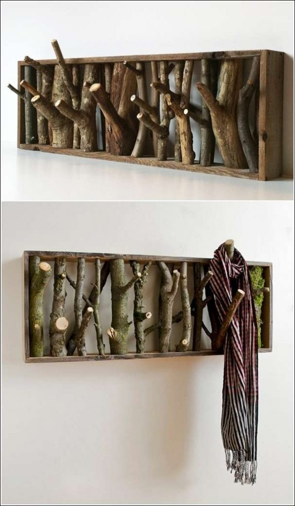 Wood log coat rack