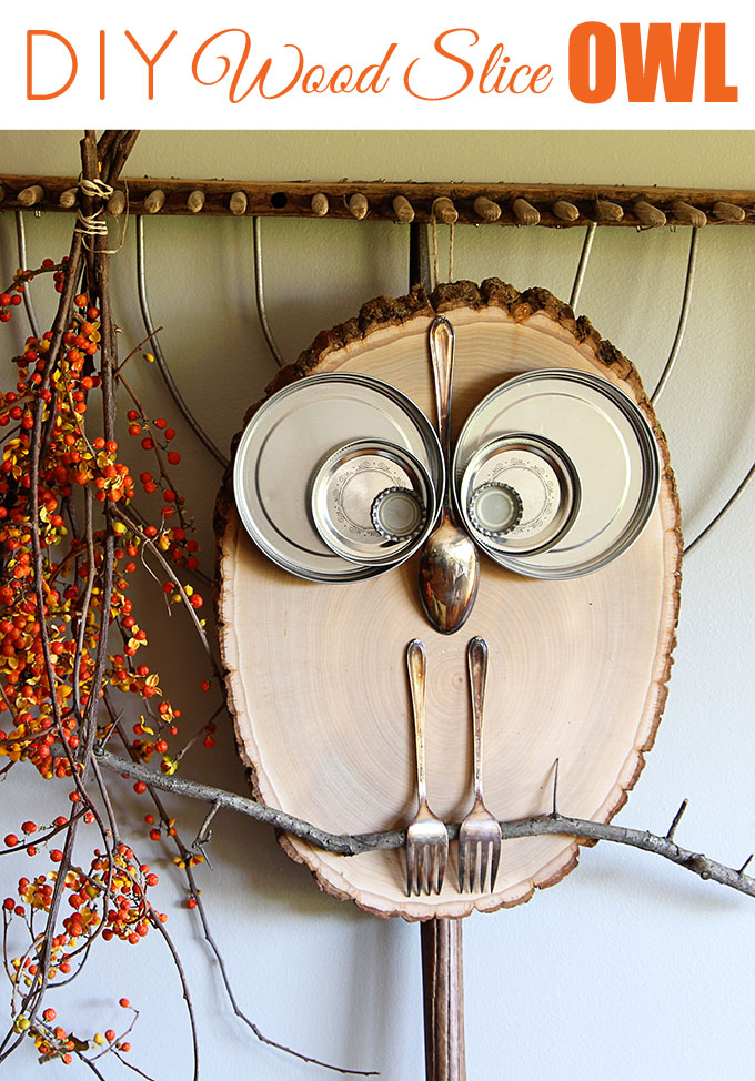 Wood slice owl decor