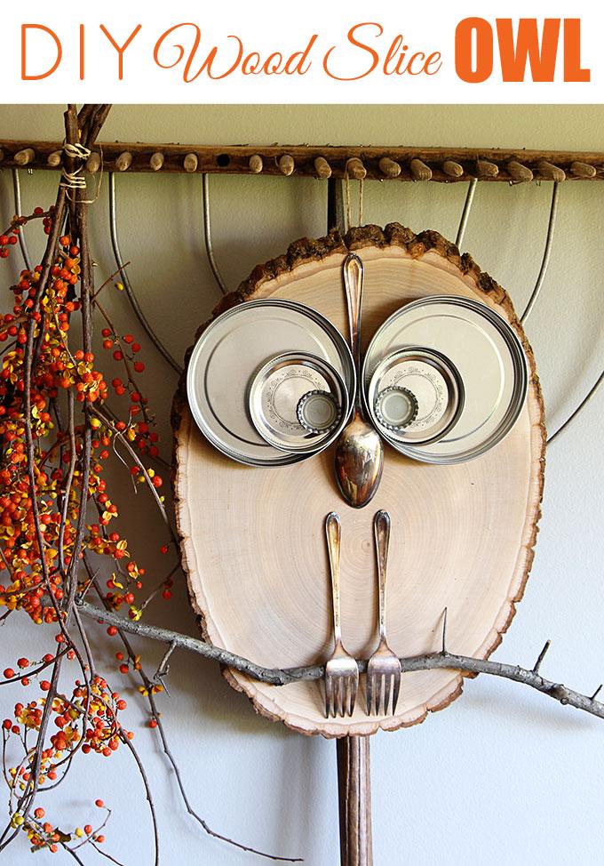 Ideal Wood slice owl decor