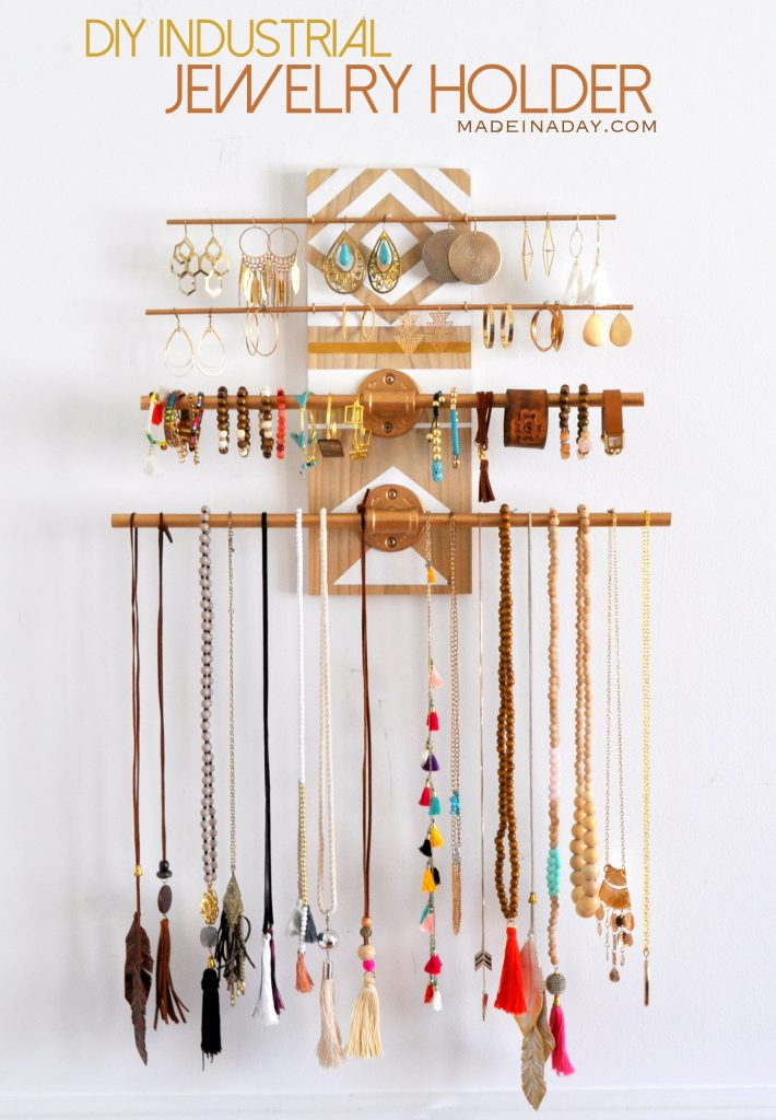 DIY industrial jewelry organizer rack
