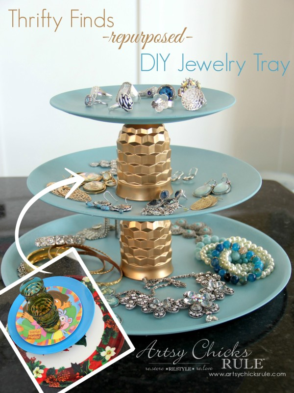 DIY repurposed jewelry teired tray