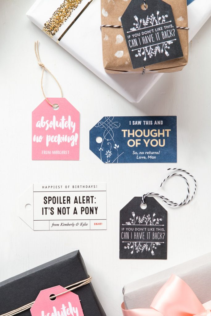 Clever birthday gift tags
