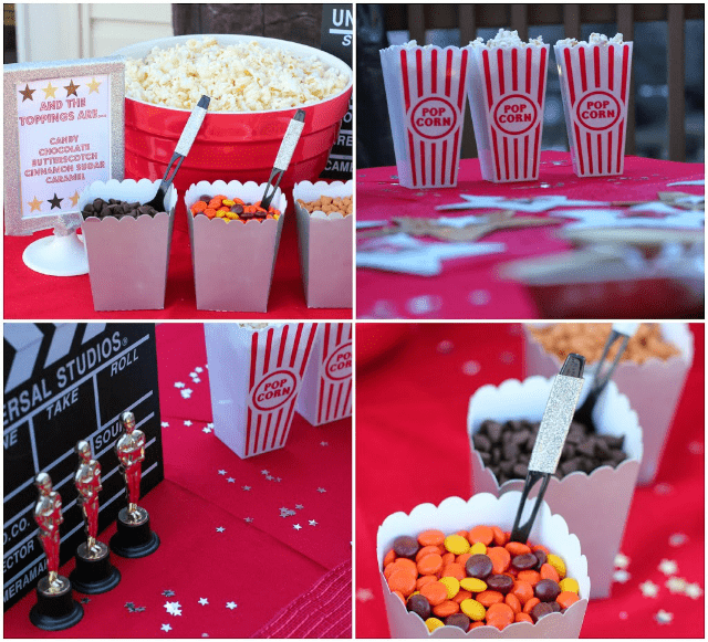 Movie night popcorn bar