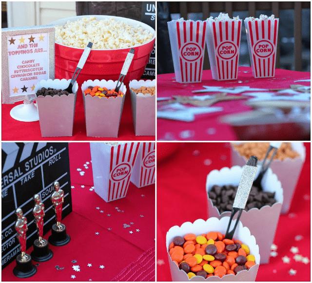 Movie night popcorn bar